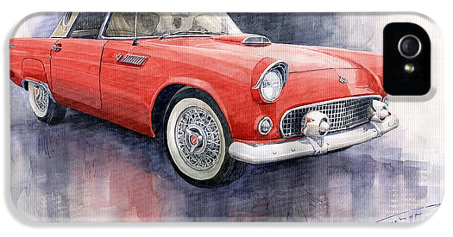 Watercolor IPhone 5 Case featuring the painting Ford Thunderbird 1955 Red by Yuriy Shevchuk