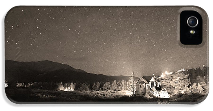 Chapel On The Rock IPhone 5 Case featuring the photograph Forest Of Stars Above The Chapel On The Rock Sepia by James BO Insogna