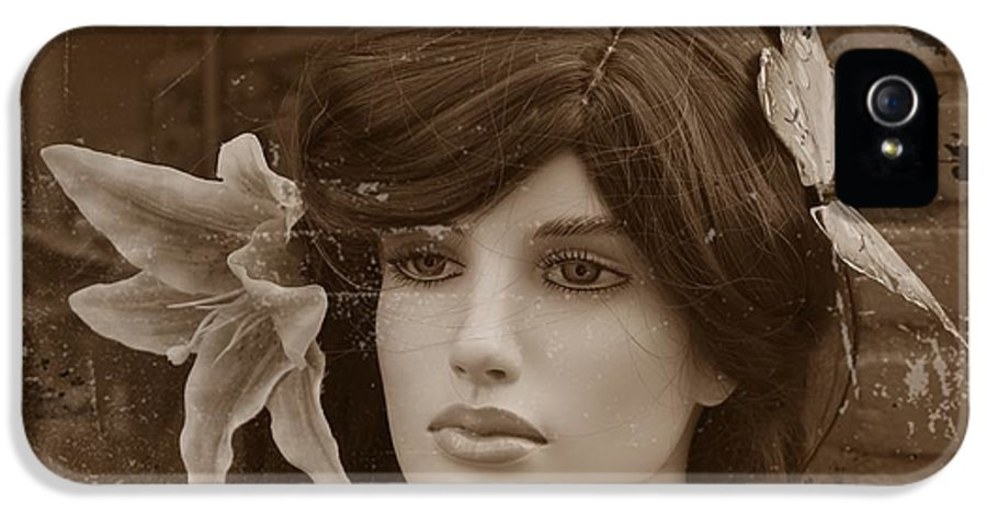 Forever Young Doll Female Girl Model Vintage Sepia Erotic Face Beauty Expressionism Photograph Digital Art IPhone 5 Case featuring the digital art Forever Young by Steve K