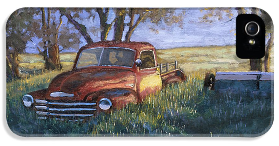 Pickup Truck IPhone 5 Case featuring the painting Forgotten But Still Good by Jerry McElroy