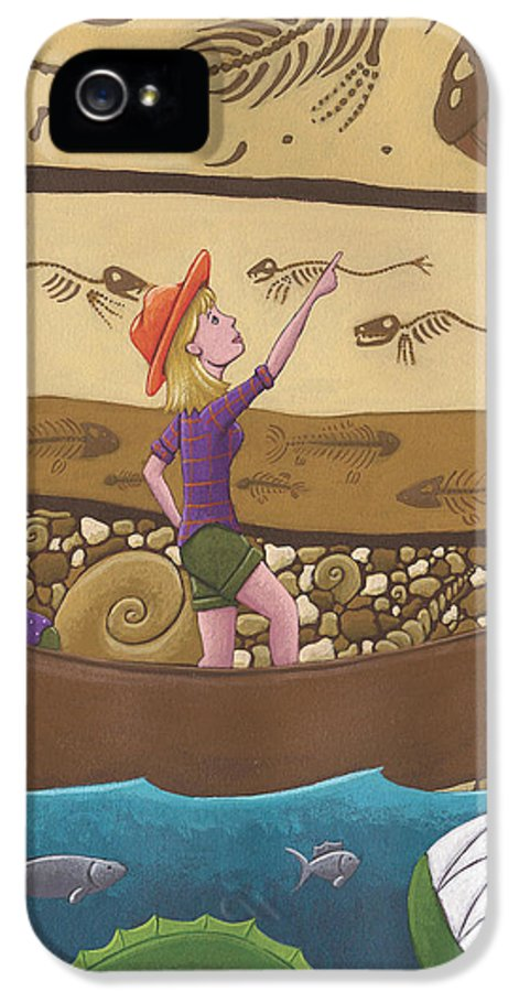 Canoe IPhone 5 Case featuring the painting Fossils by Christy Beckwith