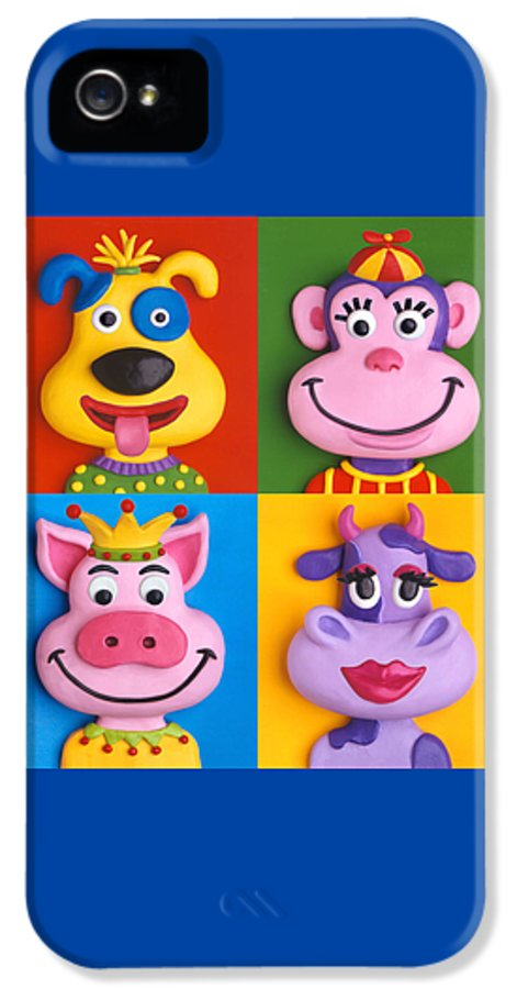 Animal IPhone 5 Case featuring the painting Four Animal Faces by Amy Vangsgard