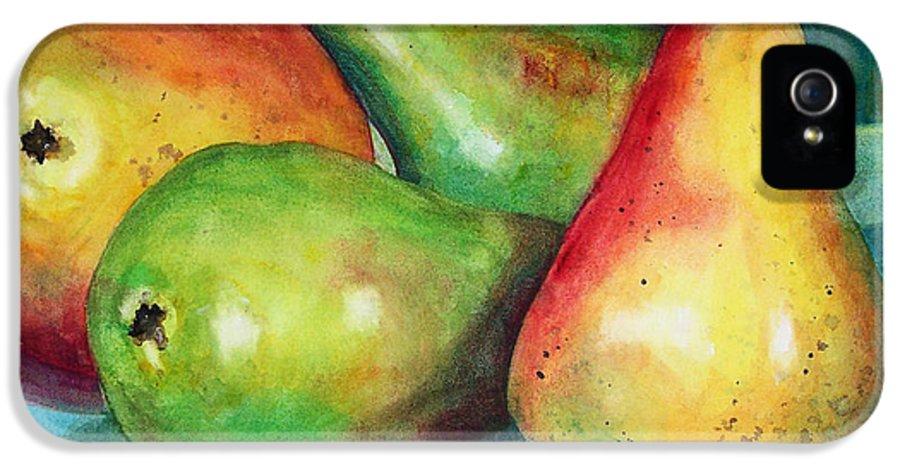 Art IPhone 5 Case featuring the painting Four Pears Art Blenda Studio by Blenda Studio