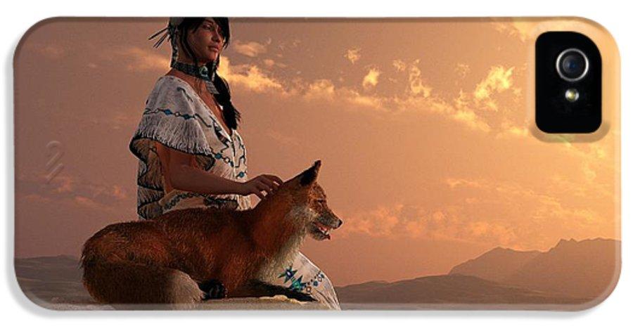 Fox IPhone 5 Case featuring the digital art Fox Maiden by Daniel Eskridge