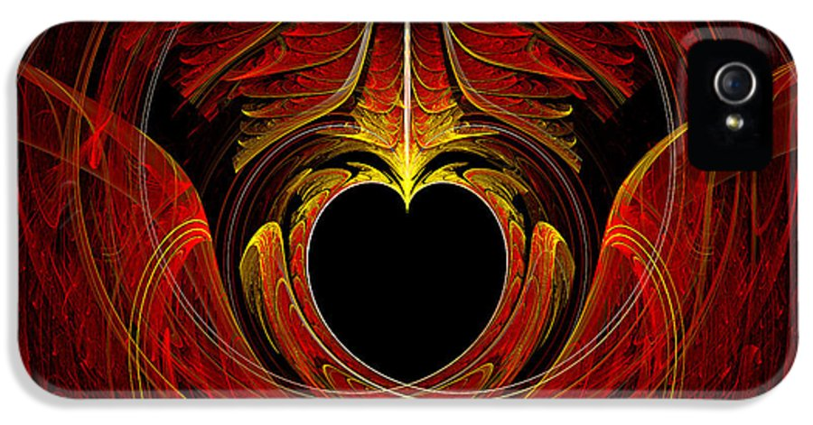 Abstract IPhone 5 Case featuring the digital art Fractal - Heart - Victorian Love by Mike Savad