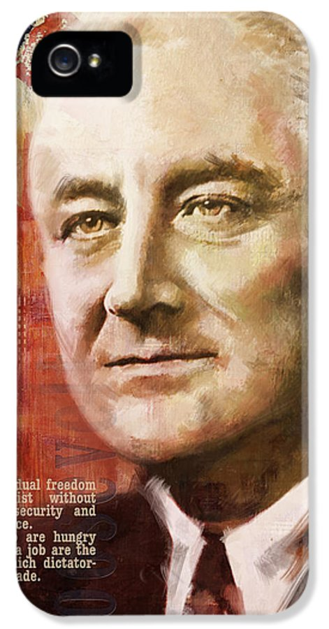 Franklin D. Roosevelt IPhone 5 Case featuring the painting Franklin D. Roosevelt by Corporate Art Task Force