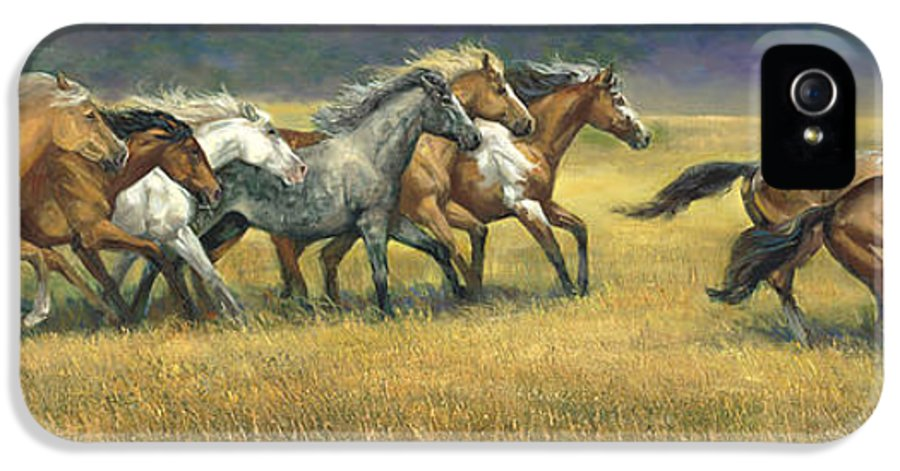 Horse IPhone 5 Case featuring the painting Free And Wild by Laurie Hein