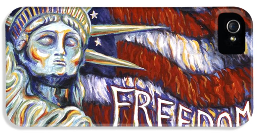 Statue Of Liberty IPhone 5 Case featuring the painting Freedom by Linda Mears
