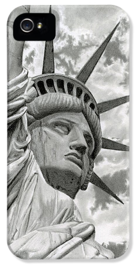 Statue Of Liberty IPhone 5 Case featuring the drawing Freedom by Sarah Batalka