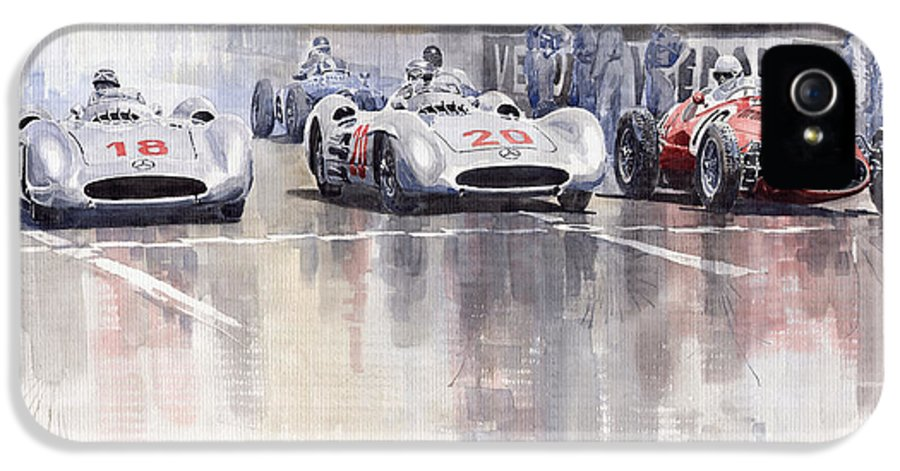 Watercolour IPhone 5 Case featuring the painting French Gp 1954 Mb W 196 Meserati 250 F by Yuriy Shevchuk
