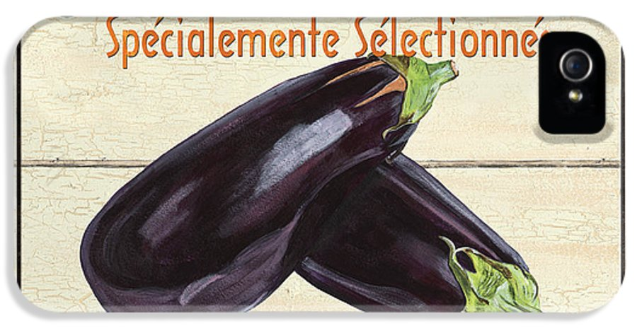 Eggplant IPhone 5 Case featuring the painting French Vegetable Sign 3 by Debbie DeWitt