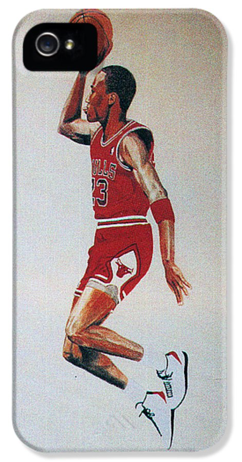 Michael Jordan IPhone 5 Case featuring the drawing Fresh Air 1984 by Lee McCormick