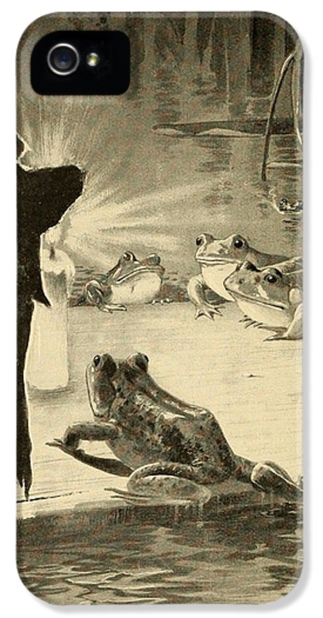 Frogs IPhone 5 Case featuring the painting Frogs And Candle by Philip Ralley