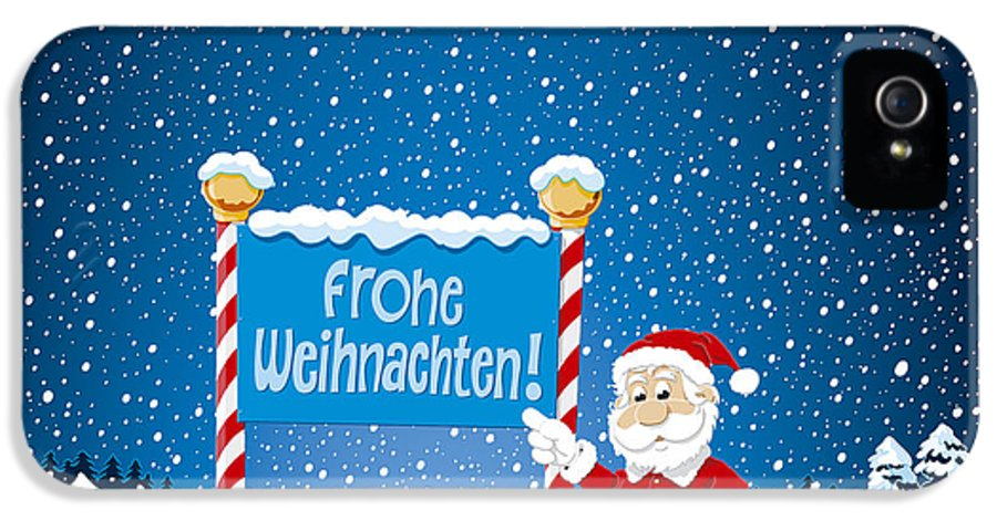Frohe IPhone 5 Case featuring the drawing Frohe Weihnachten Sign Santa Claus Winter Landscape by Frank Ramspott