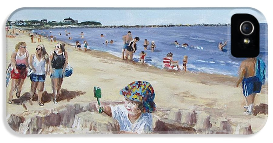 Beach IPhone 5 Case featuring the painting From Sandcastles To College by Jack Skinner