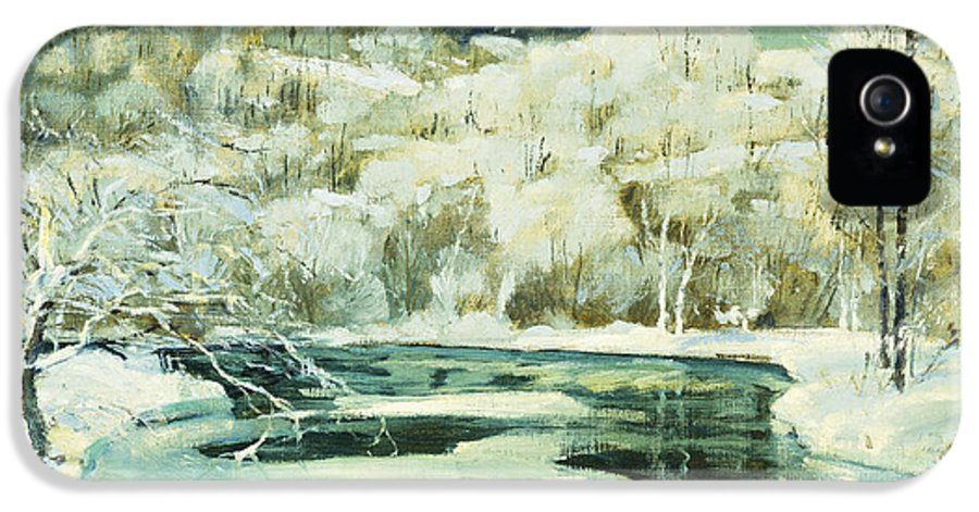 American IPhone 5 Case featuring the painting Frosted Trees by Jonas Lie