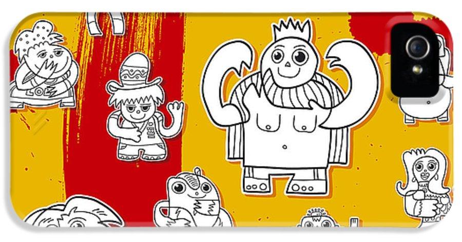 Frank Ramspott IPhone 5 Case featuring the digital art Funny Doodle Characters Urban Art by Frank Ramspott