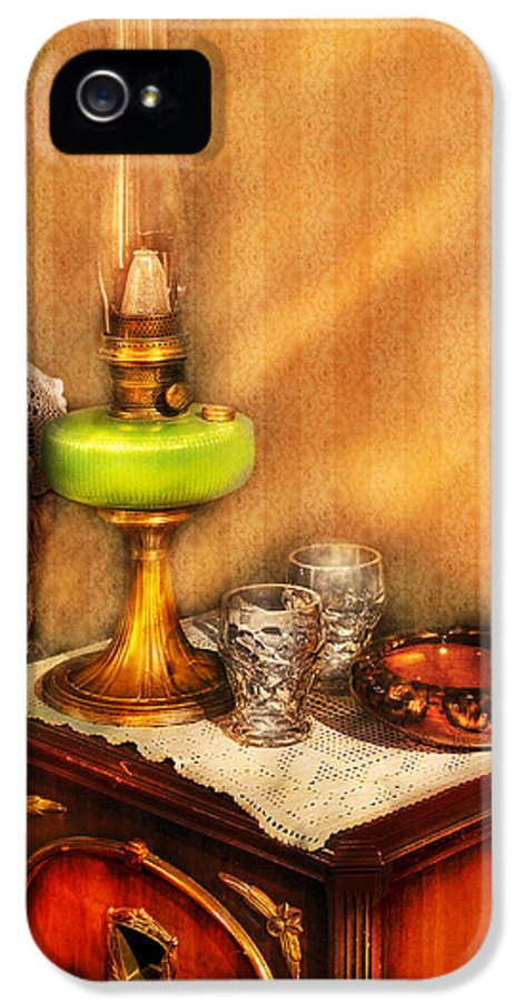 Savad IPhone 5 Case featuring the photograph Furniture - Lamp - The Gas Lamp by Mike Savad