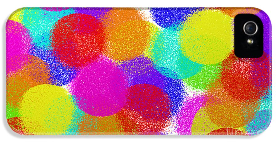 Abstract IPhone 5 Case featuring the digital art Fuzzy Polka Dots by Andee Design