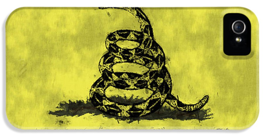 American Patriotism IPhone 5 Case featuring the digital art Gadsden Flag - Dont Tread On Me by World Art Prints And Designs