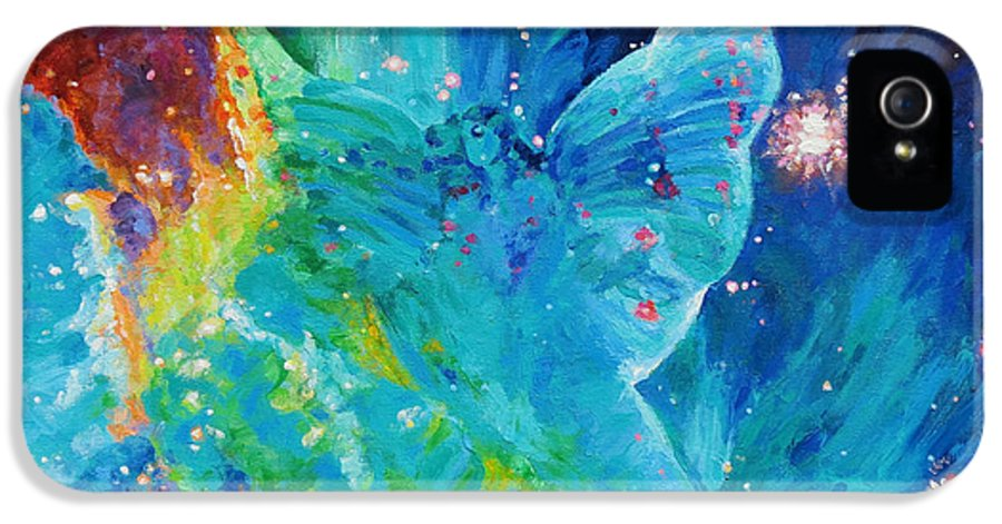 Galactic Angel IPhone 5 Case featuring the painting Galactic Angel by Julie Turner