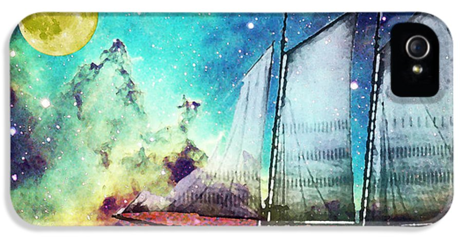 Schooner IPhone 5 Case featuring the painting Galileo's Dream - Schooner Art By Sharon Cummings by Sharon Cummings