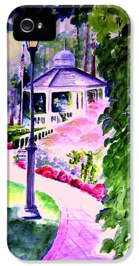 Graden City IPhone 5 Case featuring the painting Garden City Gazebo by Sandy Ryan