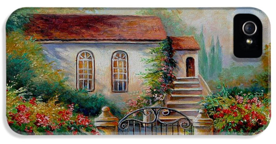 Garden Scene With Villa And Gate Print IPhone 5 Case featuring the painting Garden Scene With Villa And Gate by Regina Femrite