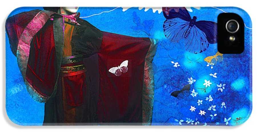 Geisha IPhone 5 / 5s Case featuring the photograph Geisha With Butterflies by Jeff Burgess