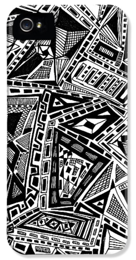 Abstract IPhone 5 Case featuring the drawing Geometric Doodle by Sarah Loft