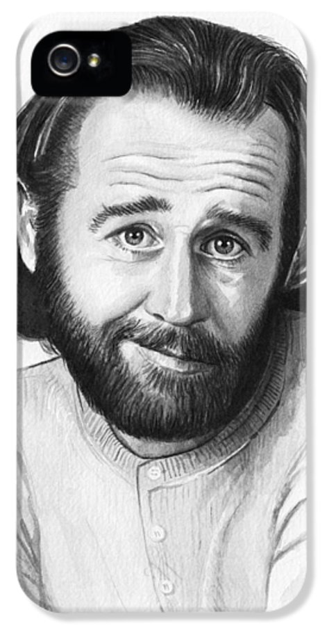 George Carlin IPhone 5 Case featuring the painting George Carlin Portrait by Olga Shvartsur