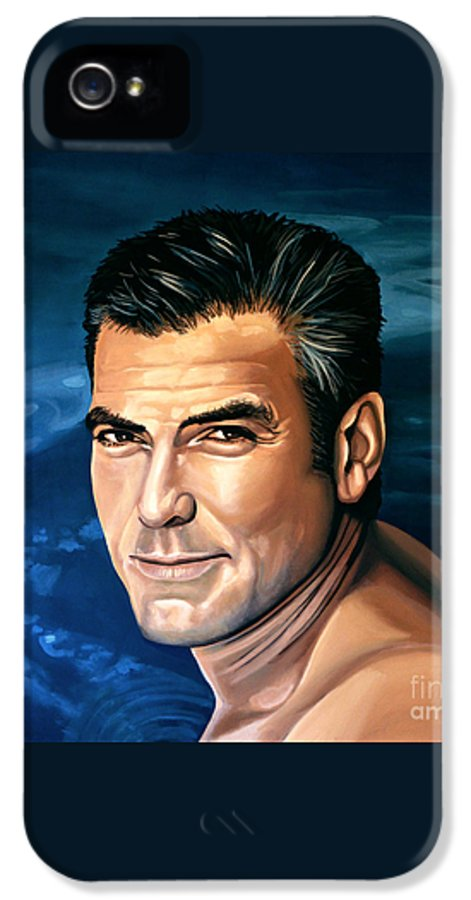 George Clooney IPhone 5 Case featuring the painting George Clooney 2 by Paul Meijering