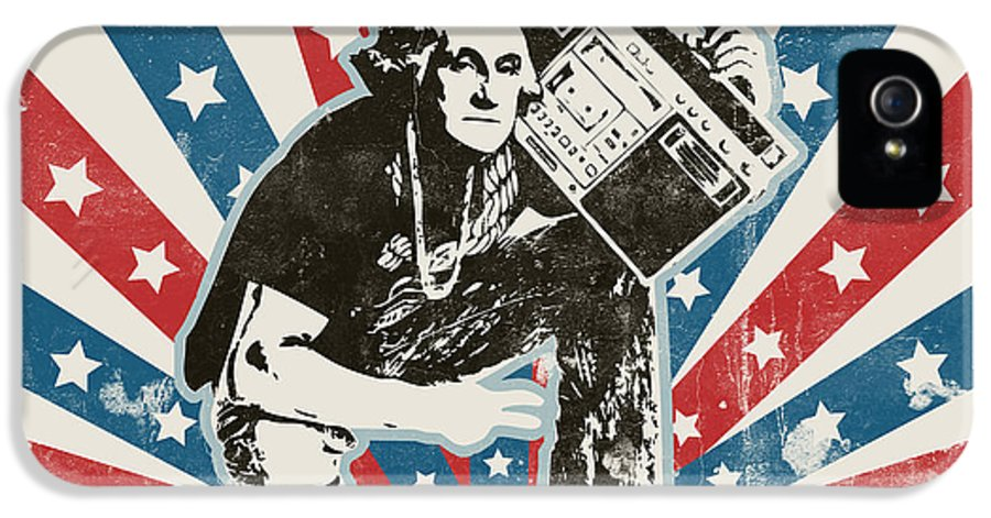 Washington IPhone 5 Case featuring the painting George Washington - Boombox by Pixel Chimp