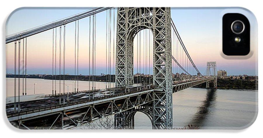 America IPhone 5 Case featuring the photograph George Washington Bridge Sunset by Susan Candelario