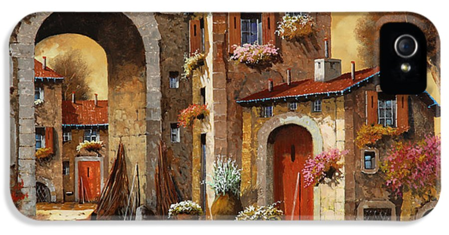 Yellow Sky IPhone 5 Case featuring the painting Giallo by Guido Borelli