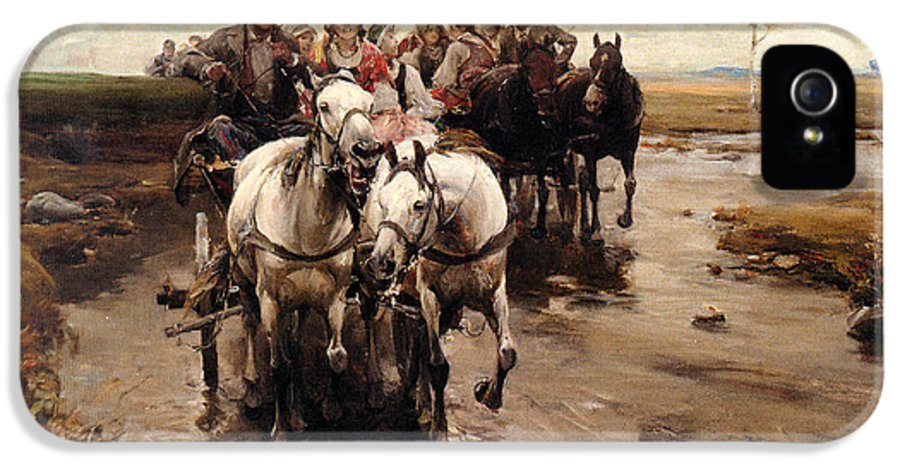 Alfred Von Wierusz-kowalski IPhone 5 Case featuring the digital art Giddy Up by Alfred von Wierusz-Kowalski