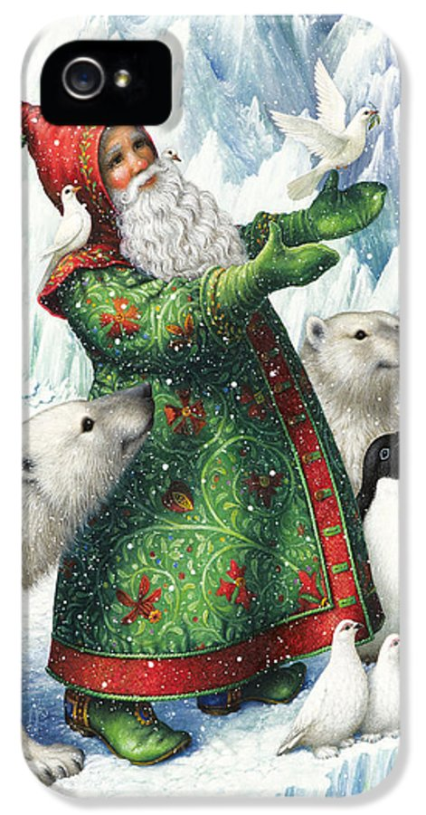 Santa Claus IPhone 5 Case featuring the painting Gift Of Peace by Lynn Bywaters