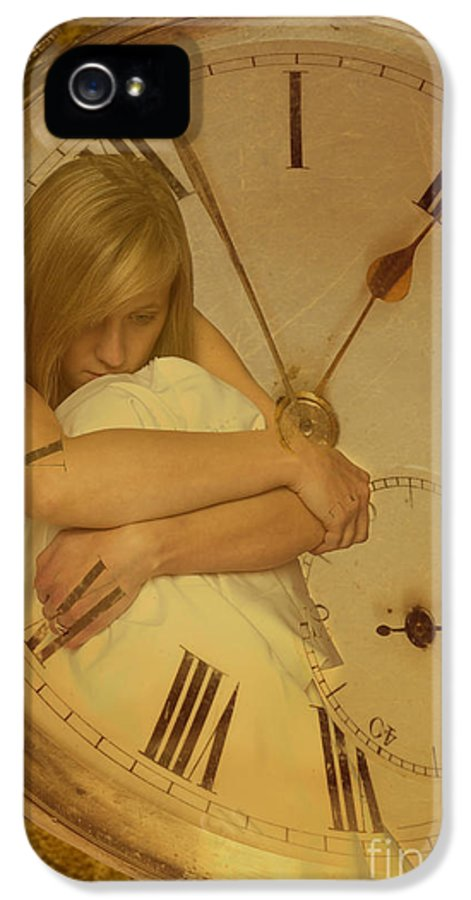 Young IPhone 5 Case featuring the photograph Girl In White Dress In Pocket Watch by Amanda Elwell