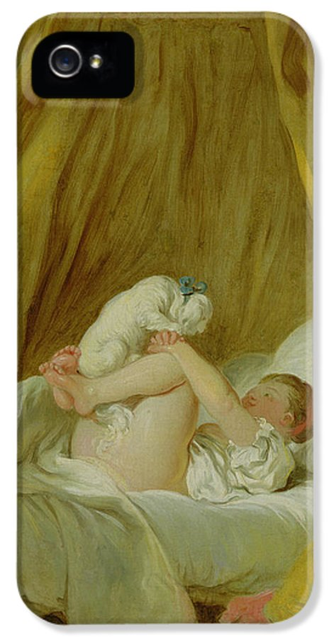 Bed IPhone 5 Case featuring the painting Girl With A Dog by Jean Honore Fragonard