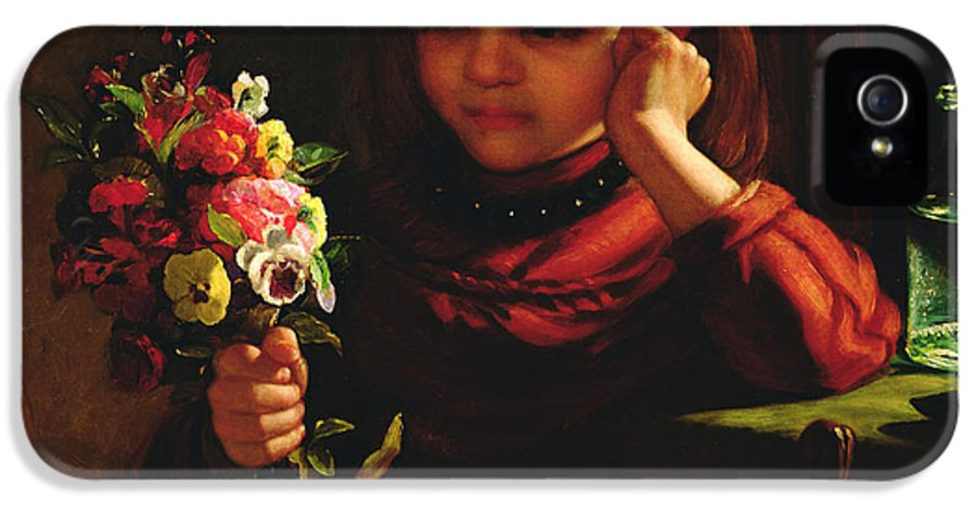 Girl With Flowers IPhone 5 Case featuring the painting Girl With Flowers by John Davidson
