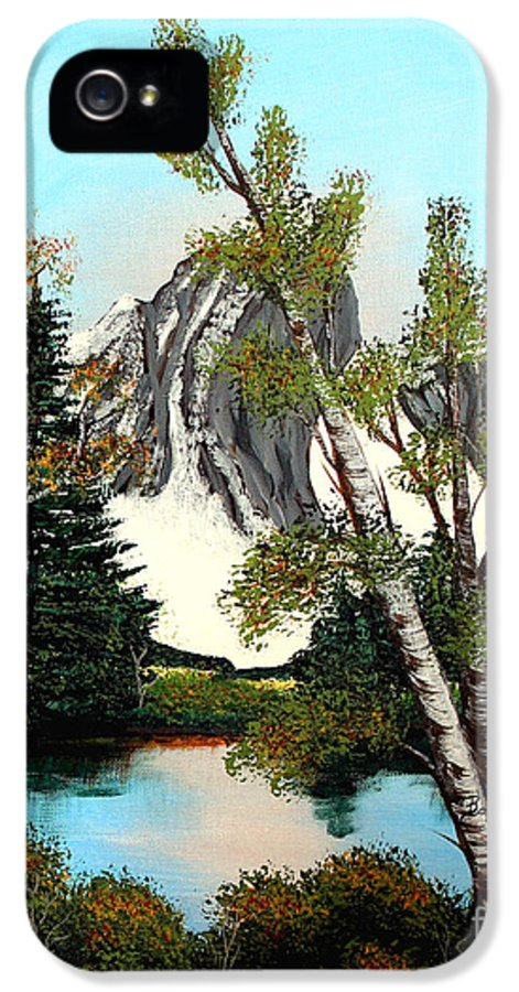 Barbara Griffin IPhone 5 Case featuring the painting Glacier Peak After Bob Ross by Barbara Griffin