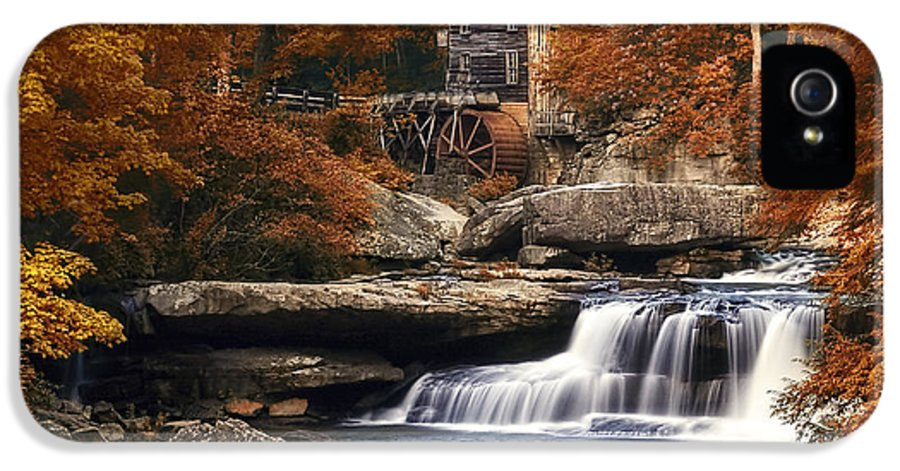 Glade Creek Mill IPhone 5 Case featuring the photograph Glade Creek Mill In Autumn by Tom Mc Nemar