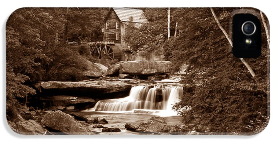 Mill IPhone 5 Case featuring the photograph Glade Creek Mill In Sepia by Tom Mc Nemar
