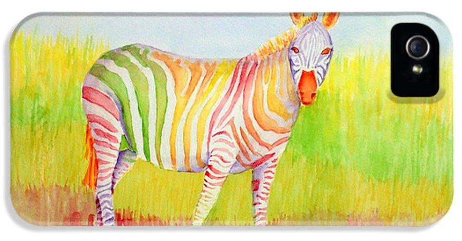 Zebra IPhone 5 Case featuring the painting Glory by Rhonda Leonard