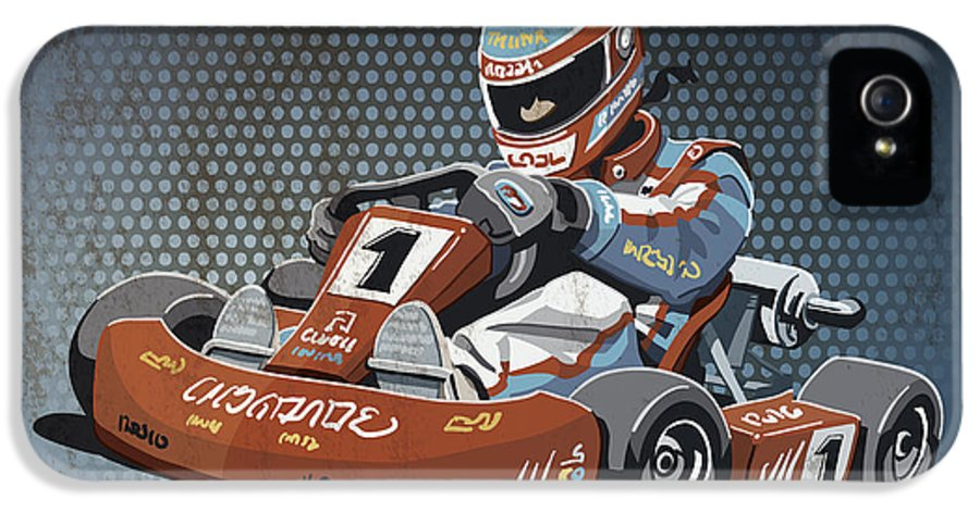 Kart IPhone 5 Case featuring the drawing Go-kart Racing Grunge Color by Frank Ramspott