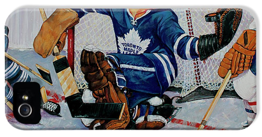 Hockey IPhone 5 Case featuring the painting Goaltender by Derrick Higgins