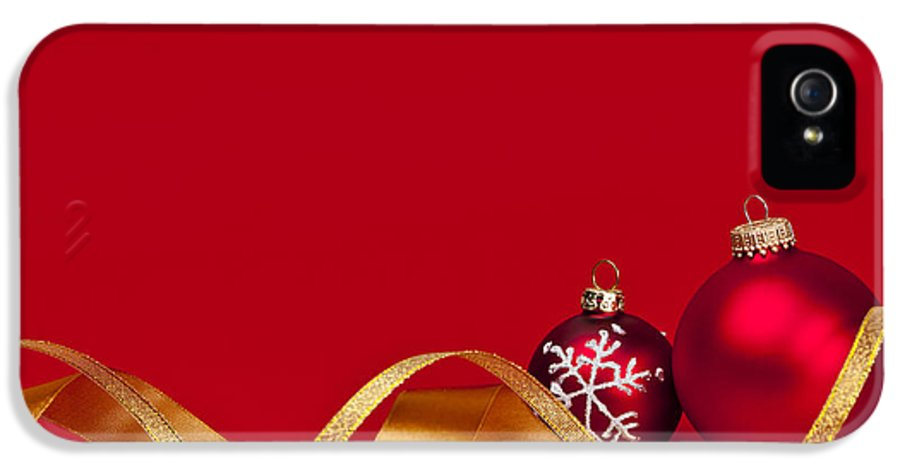 Christmas IPhone 5 Case featuring the photograph Gold And Red Christmas Decorations by Elena Elisseeva