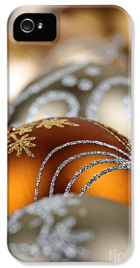 Christmas IPhone 5 Case featuring the photograph Gold Christmas Ornaments by Elena Elisseeva