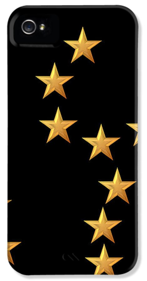 Star IPhone 5 Case featuring the digital art Gold Stars Abstract Triptych Part 2 by Rose Santuci-Sofranko