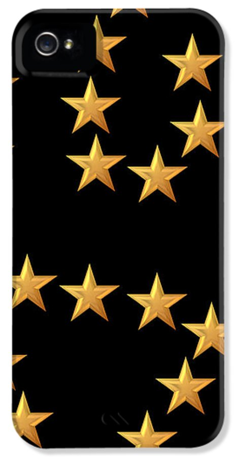 Star IPhone 5 Case featuring the digital art Gold Stars Abstract Triptych Part 3 by Rose Santuci-Sofranko